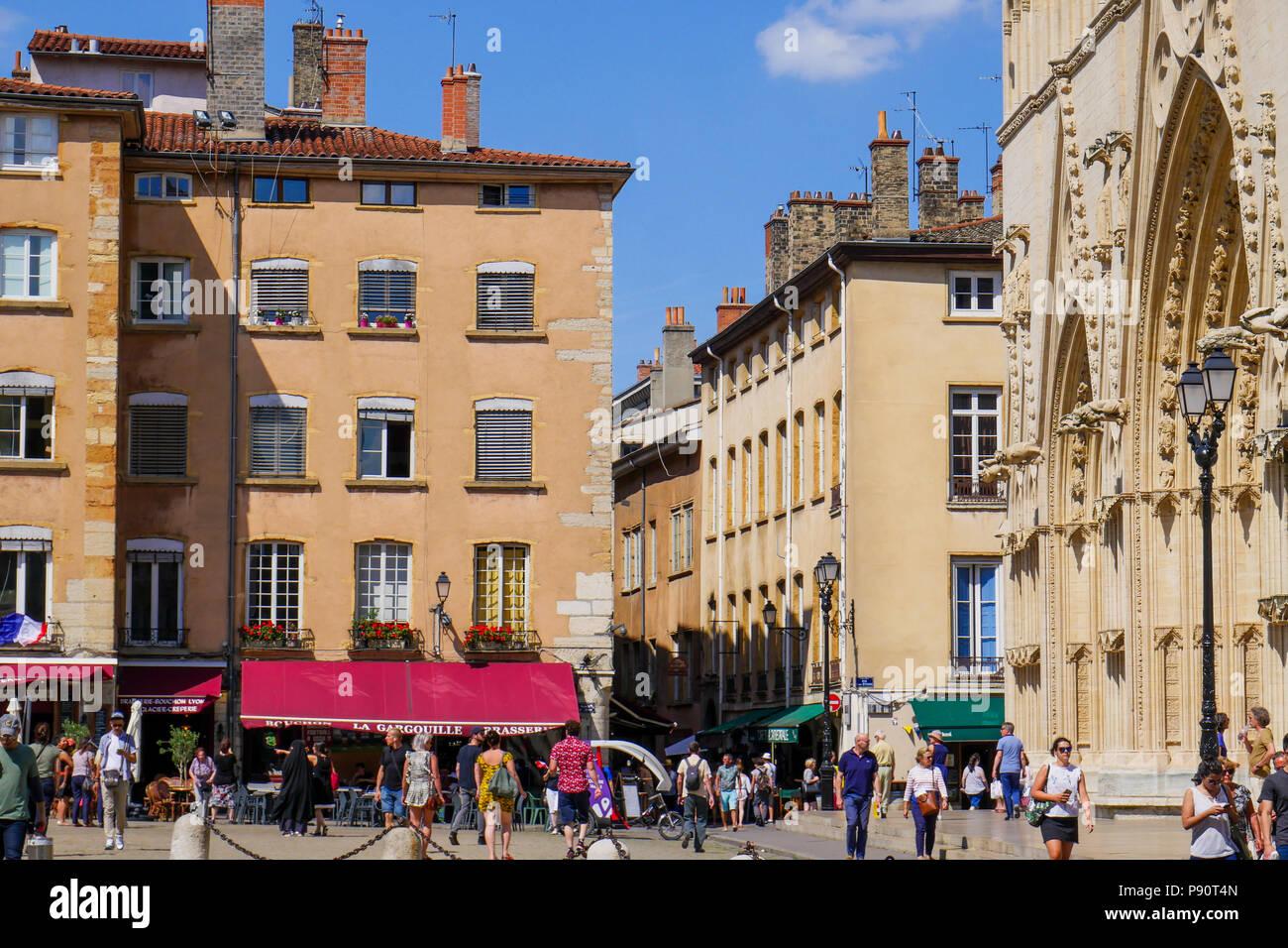 Saint-Jean square, Saint-Jean district, Lyon, France - Stock Image