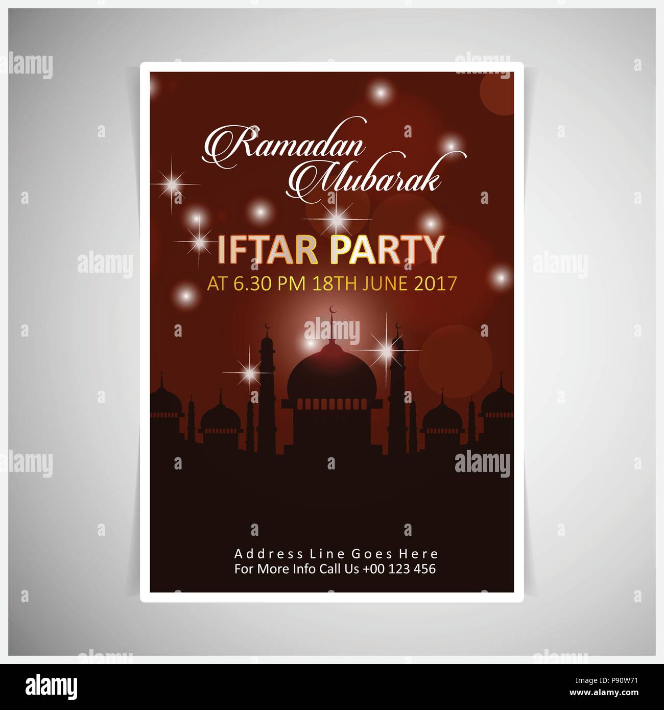 Elegant iftar party Invitation Card design decorated on dark red ...