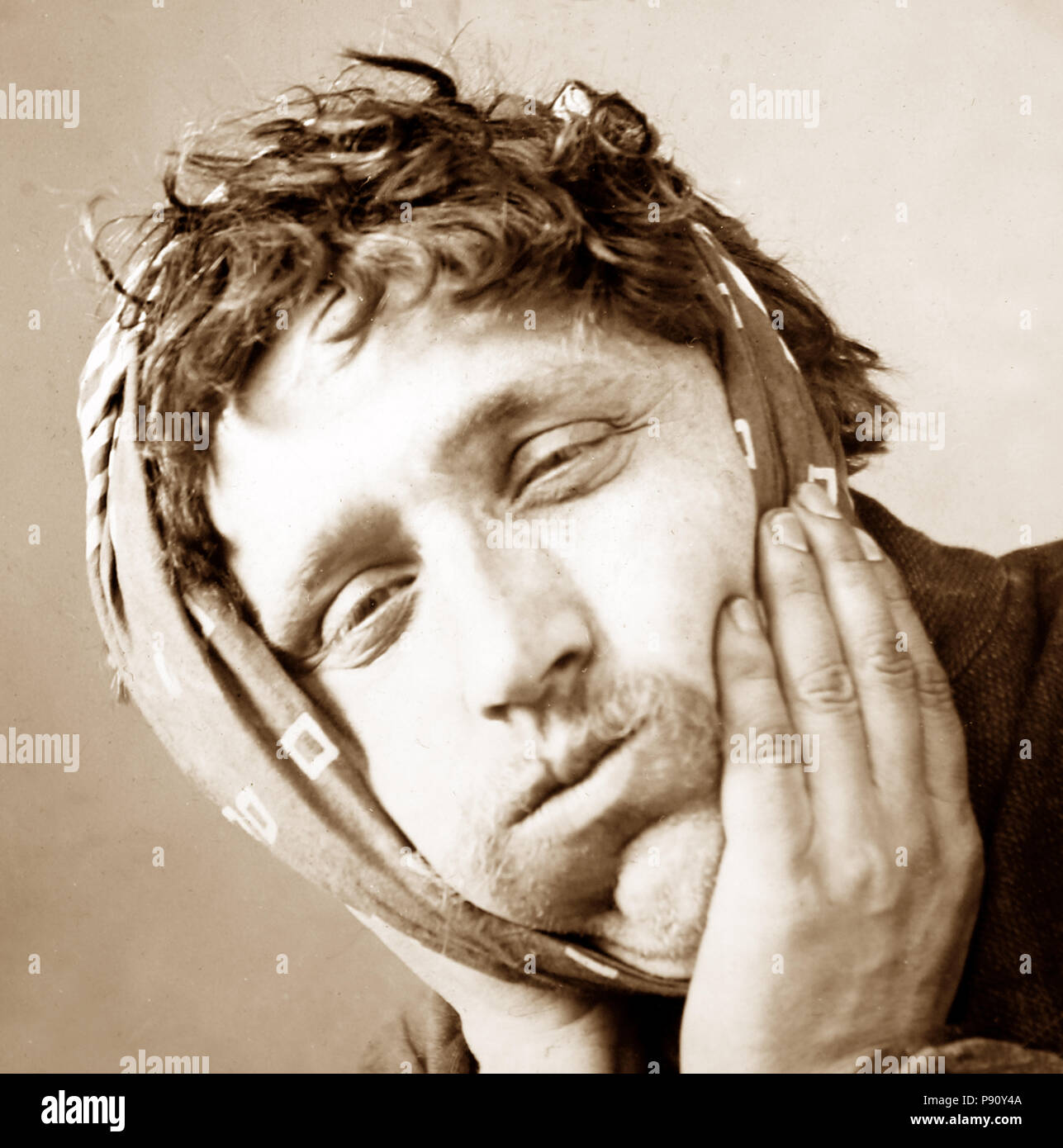 Man with toothache, Victorian period - Stock Image