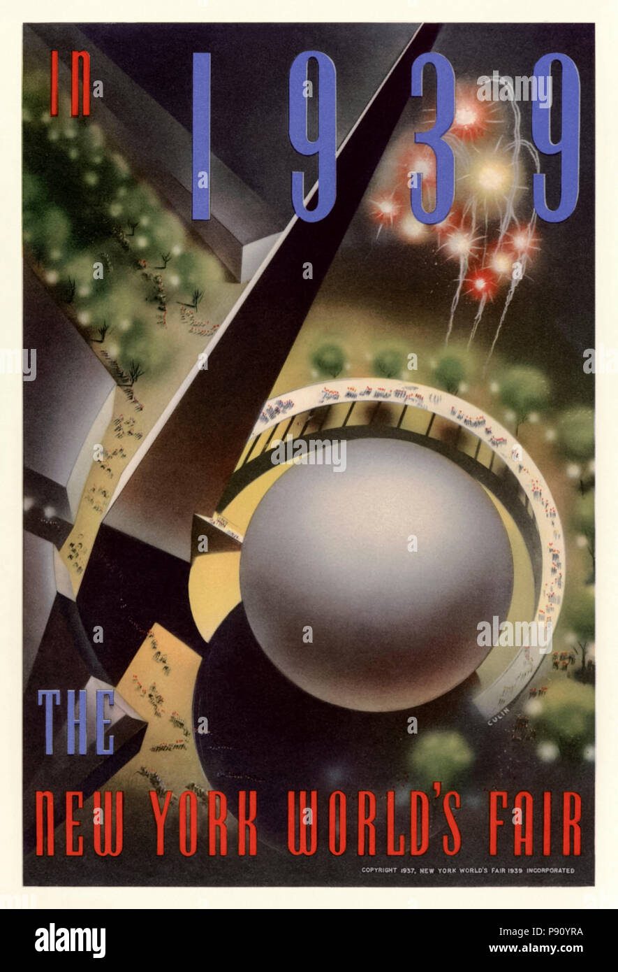 'The New York World's Fair in 1939'  poster by Nembhard N. Culin (1908-1990) published in 1937 showing an aerial view of the Trylon and Perisphere which formed the center piece of the International Exposition that took place from 30 April 1939  until 31 October 1940 in Flushing Meadows in New York City. See more information below. - Stock Image