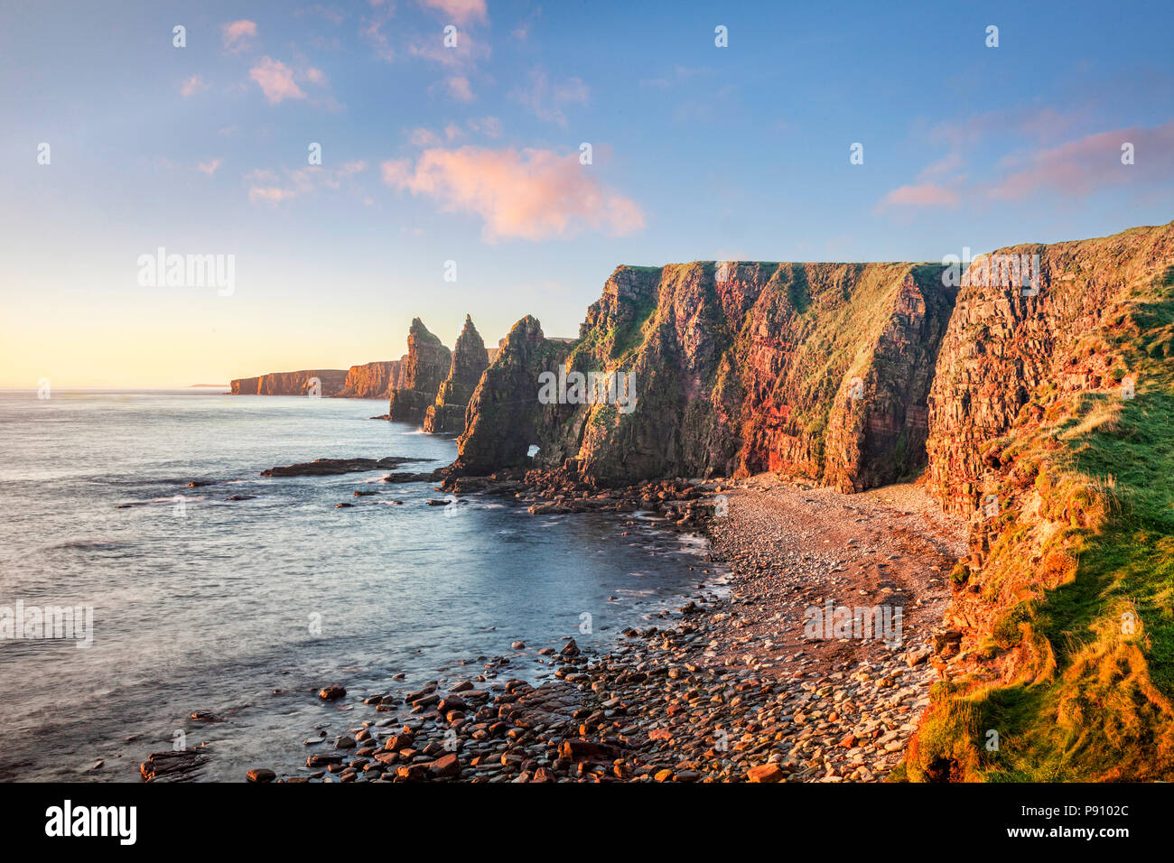 Sunrise at Stacks of Duncansby, Duncansby Head, John o' Groats,Caithness, Scotland, UK - Stock Image