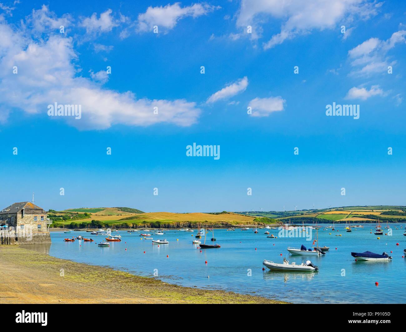 Boats on the Camel Estuary at Rock, Cornwall, UK Stock Photo