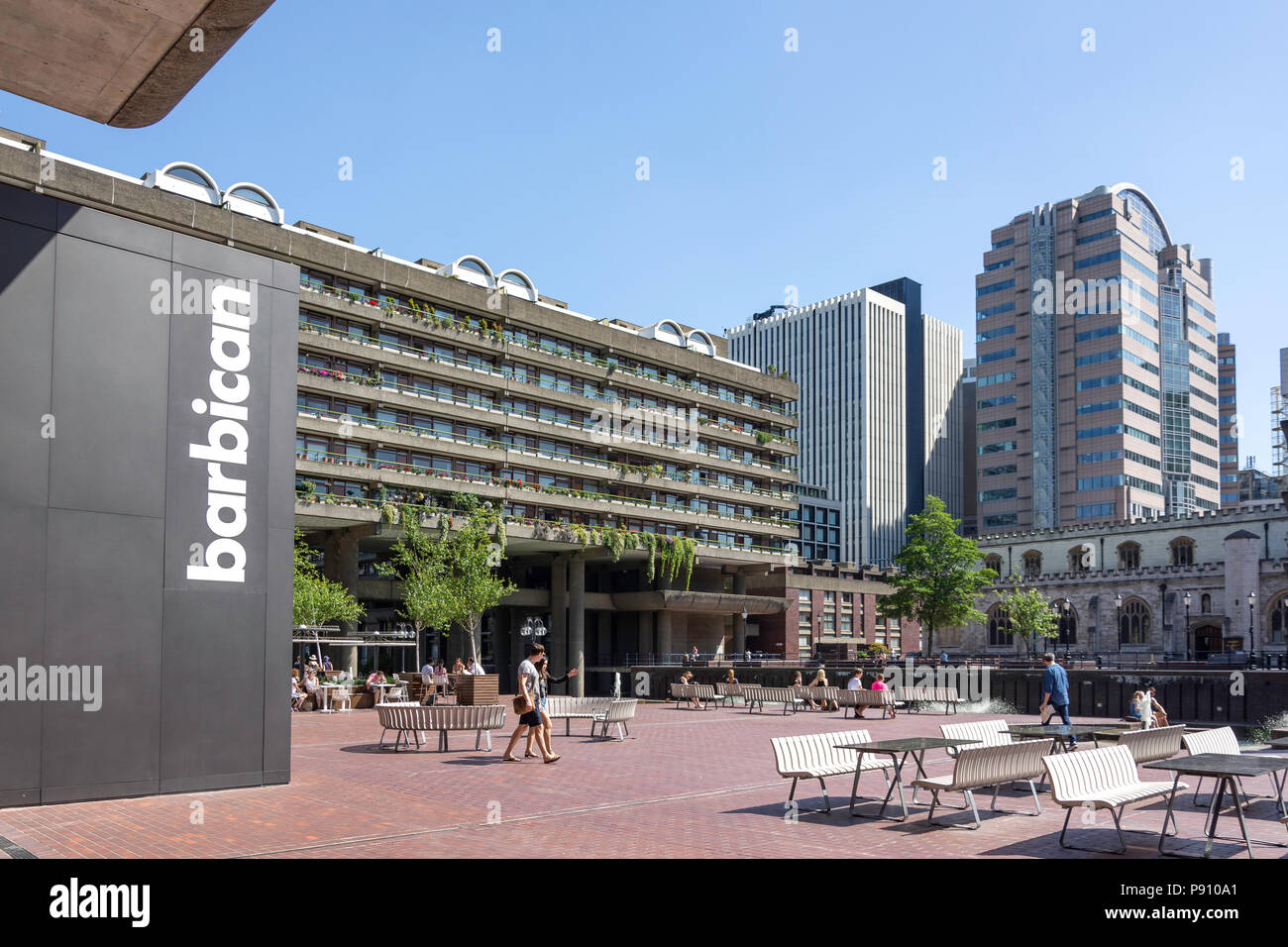 Lakeside Terrace, Barbican Estate, Barbican, City of London, Greater London, England, United Kingdom - Stock Image