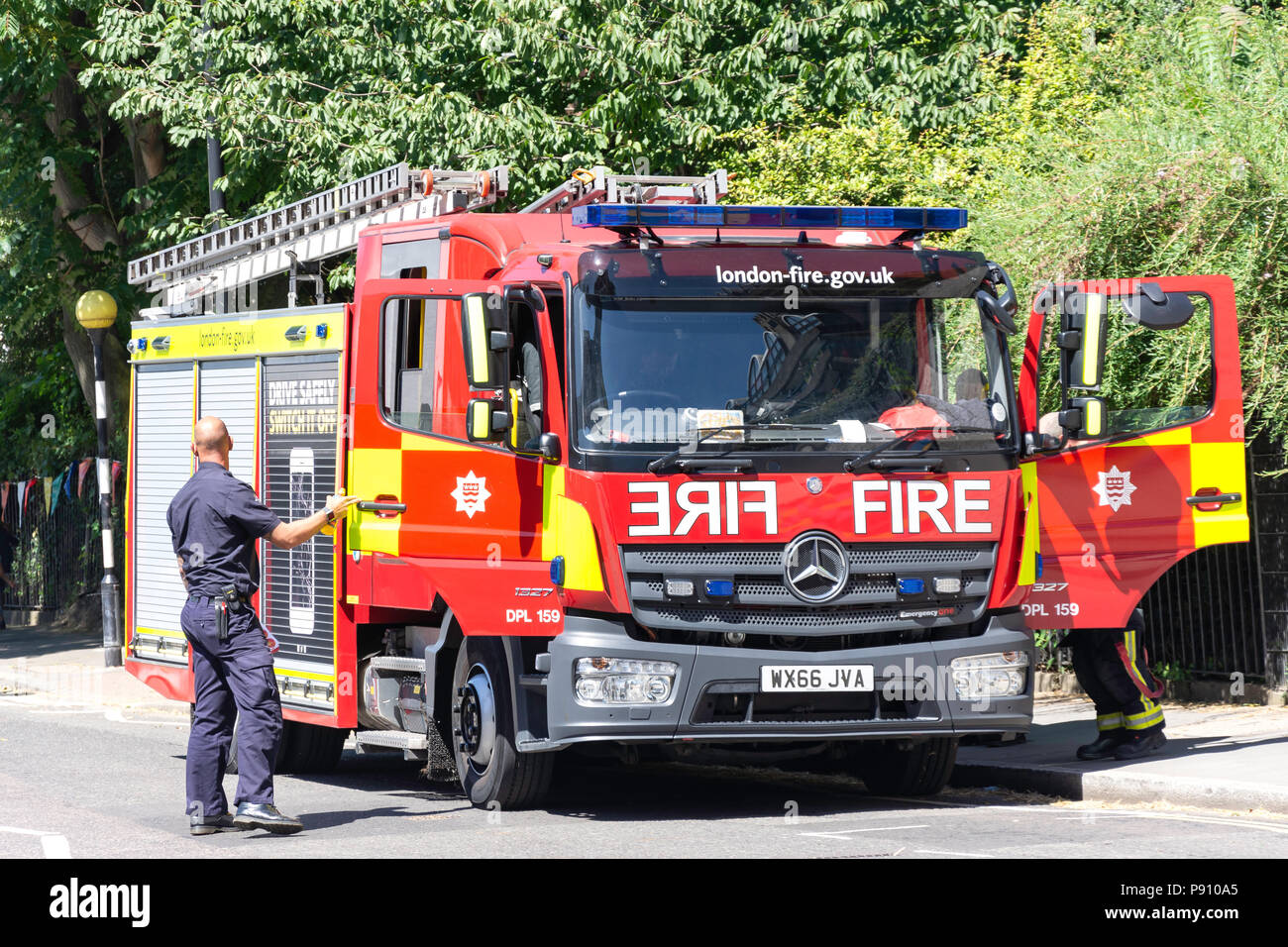 London Fire Brigade on call, Barbican, City of London, Greater London, England, United Kingdom - Stock Image