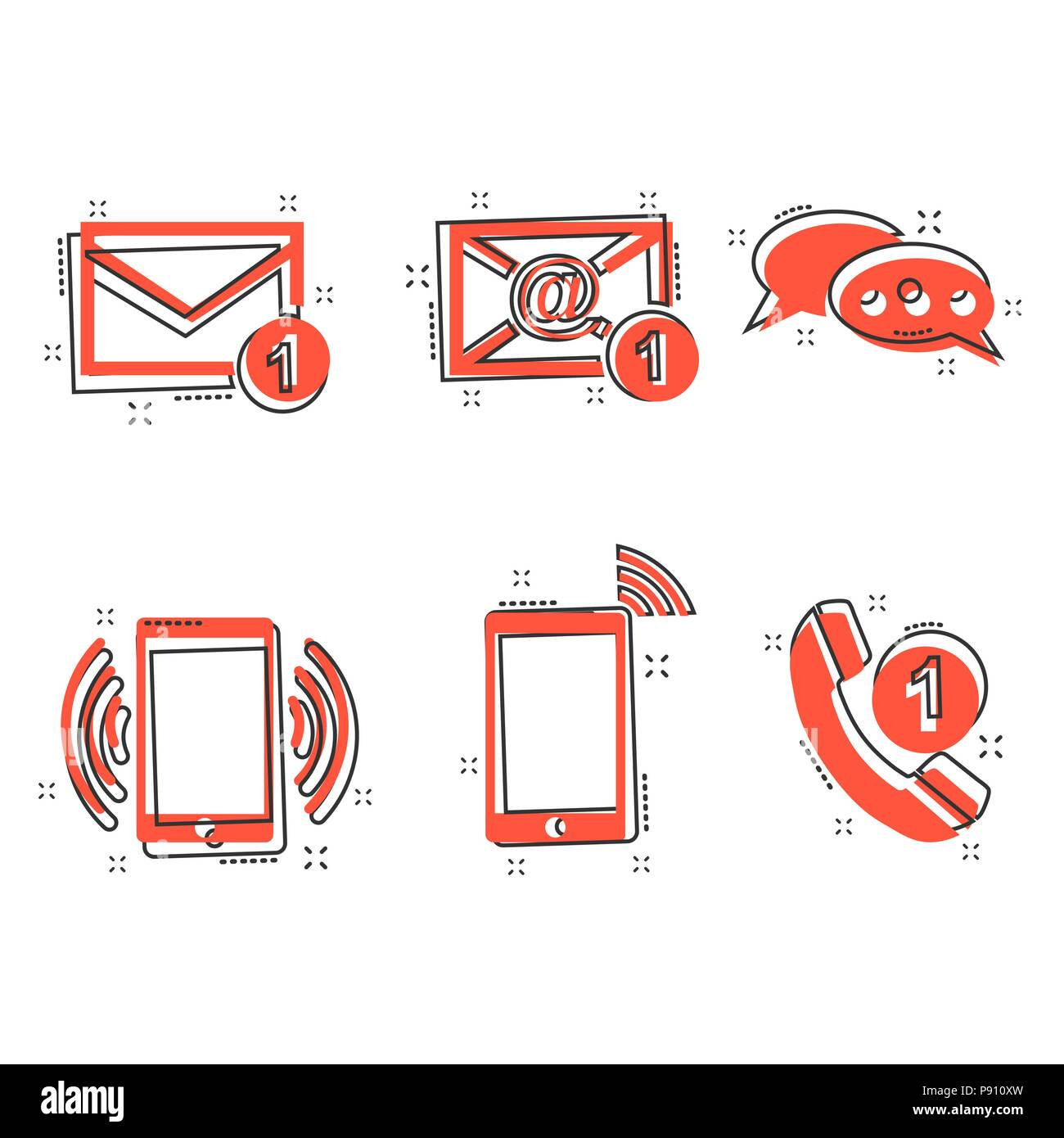 Vector cartoon contact buttons icon in comic style. Email, envelope, phone, mobile sign illustration pictogram. Communication business splash effect c - Stock Image