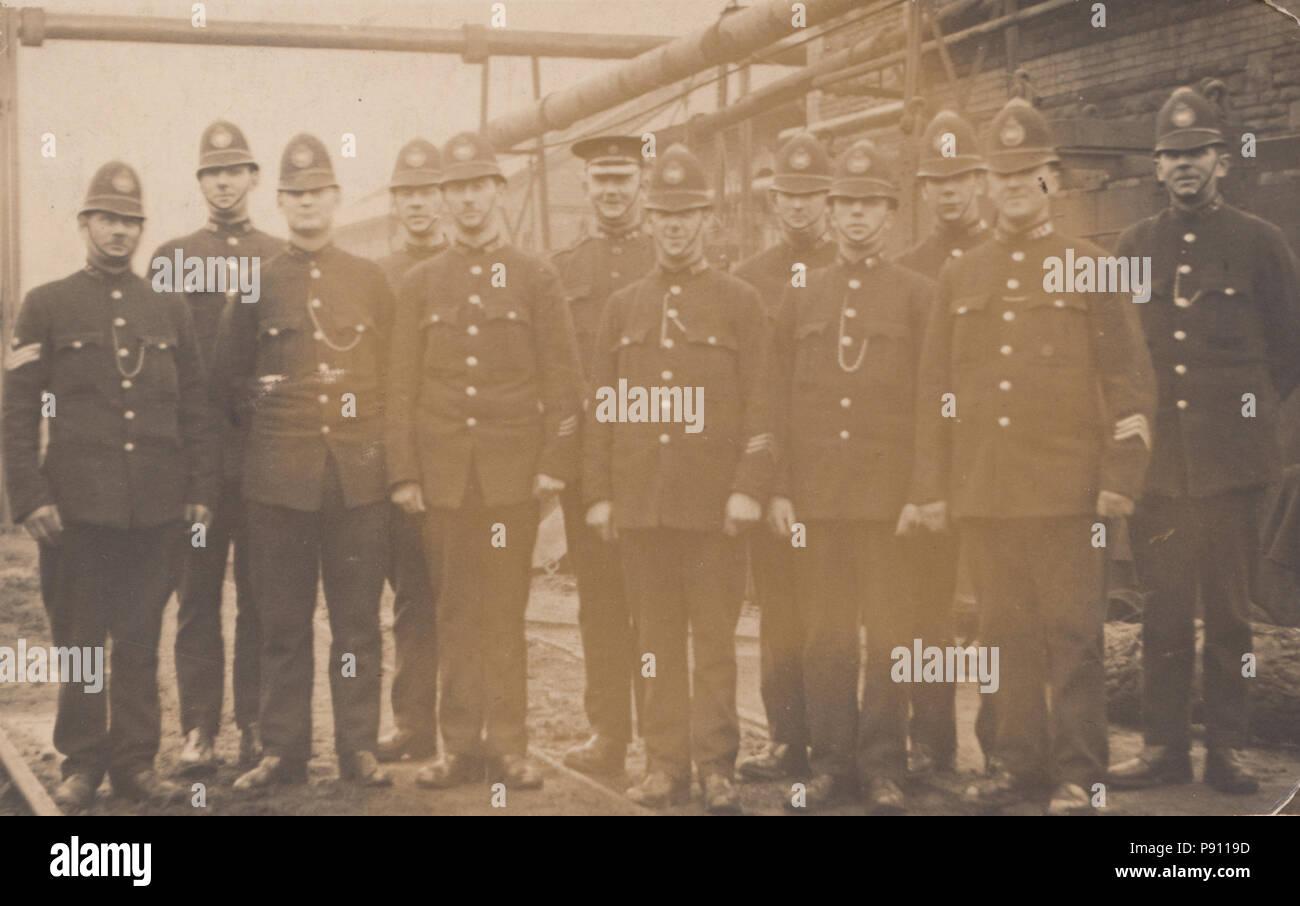 Vintage Aberbeeg Photograph of Policemen on Coal Strike Duty - Stock Image
