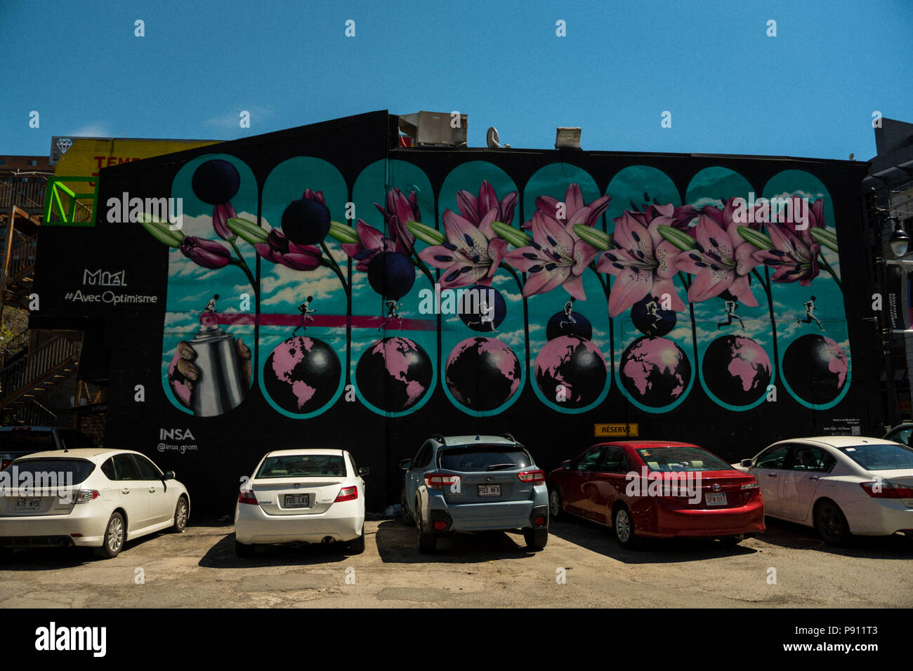 MONTREAL, CANADA APRIL 2018 - Creative graffiti street art murals line the streets and back alleys of Montreal, the largest city in Quebec, especially - Stock Image
