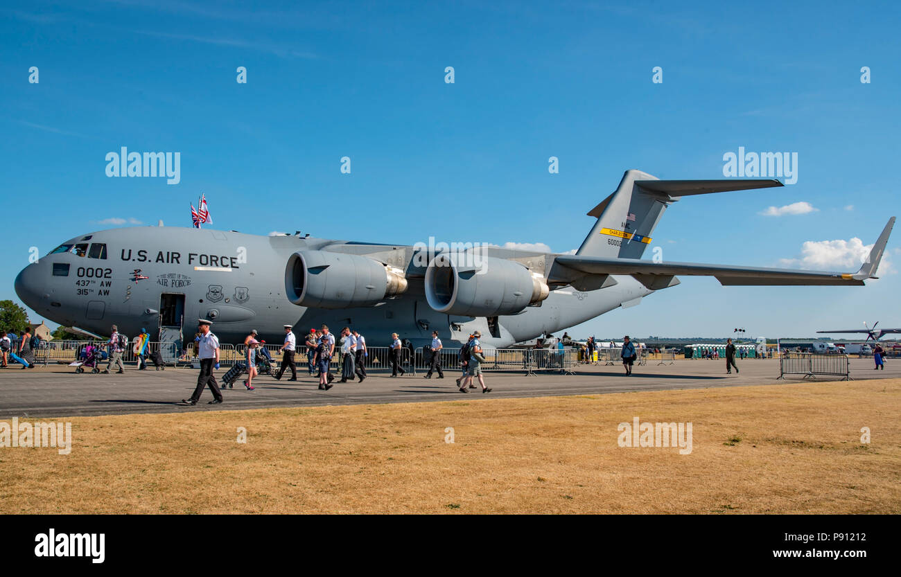 Boeing C-17 Globemaster from the United States Air Force on static display  at the RNAS Yeovilton International Air Day, UK on the 7th July 2018.