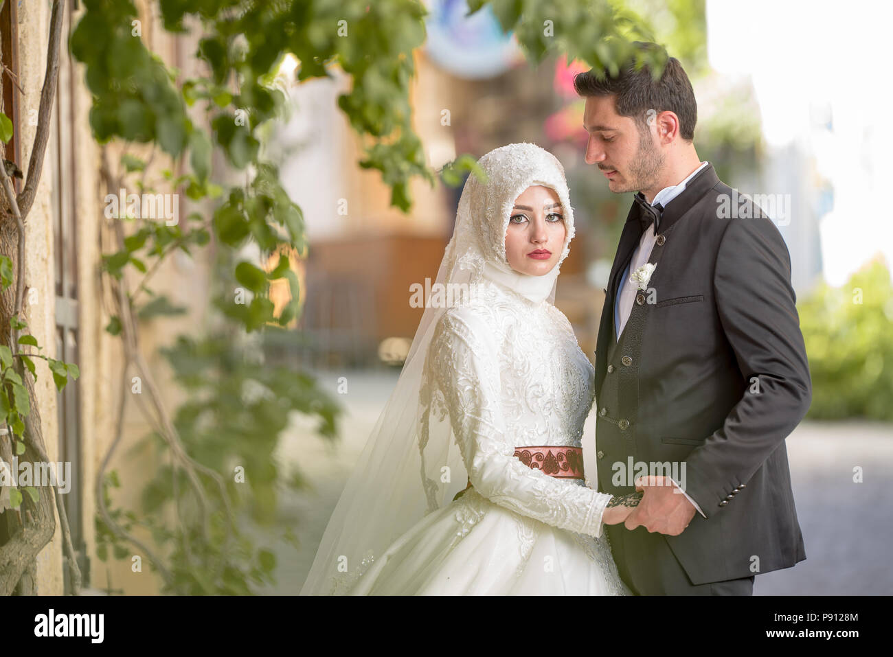 Muslim bride and groom Islamic wedding ceremony Middle