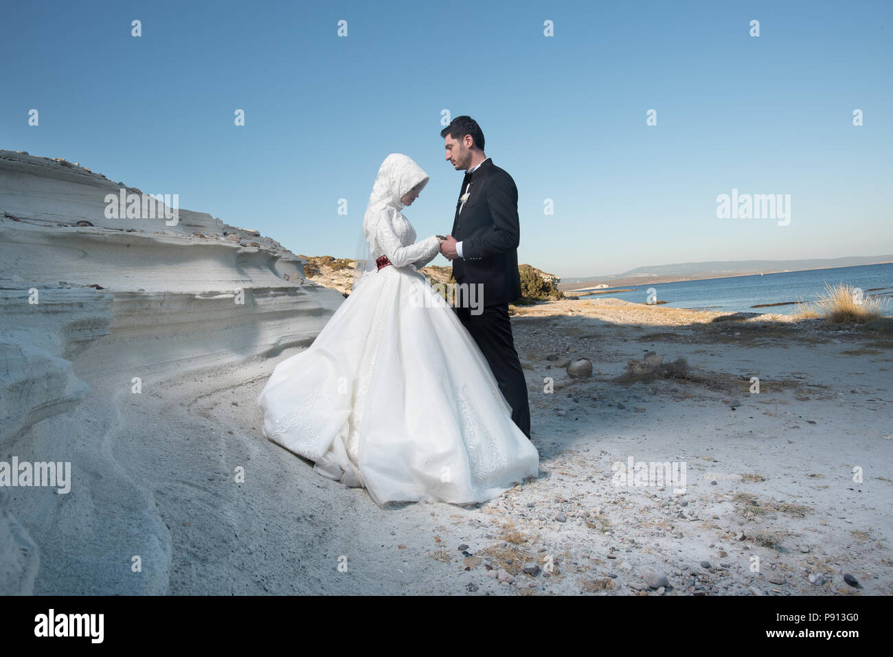 7358eafccb Muslim bride and groom Islamic wedding ceremony Middle Easterner  traditional Muslim wedding - Stock Image