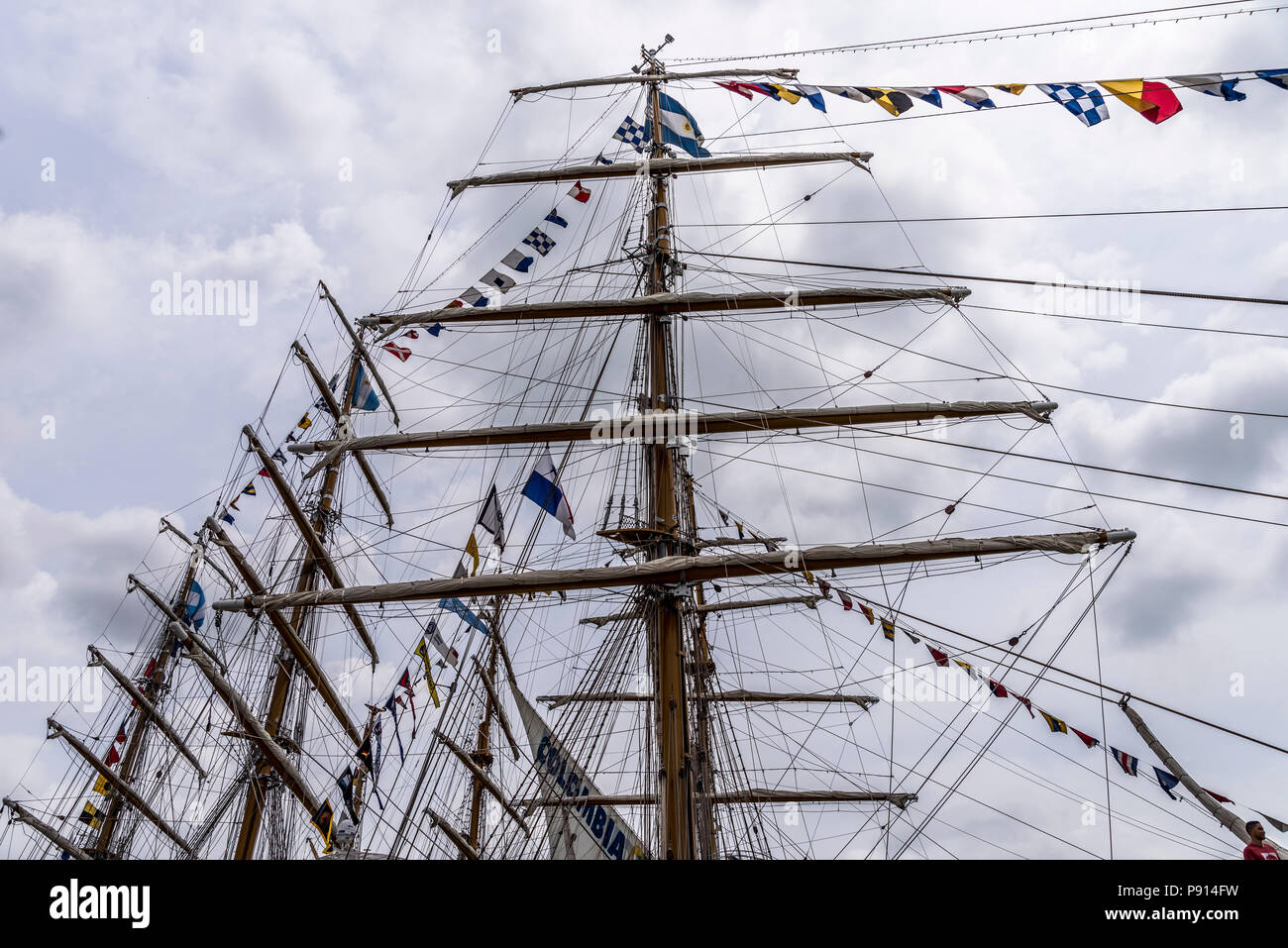 Mast of sailing vessels tall spar, or arrangement of spars at tall ships   Velas Latinoamerica 2018 regata - Stock Image