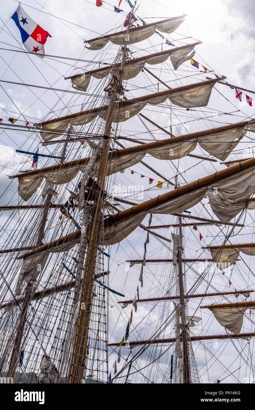 Mast of sailing vessels tall spar, or arrangement of spars at tall ships   Velas Latinoamerica 2018 regata - Stock Image