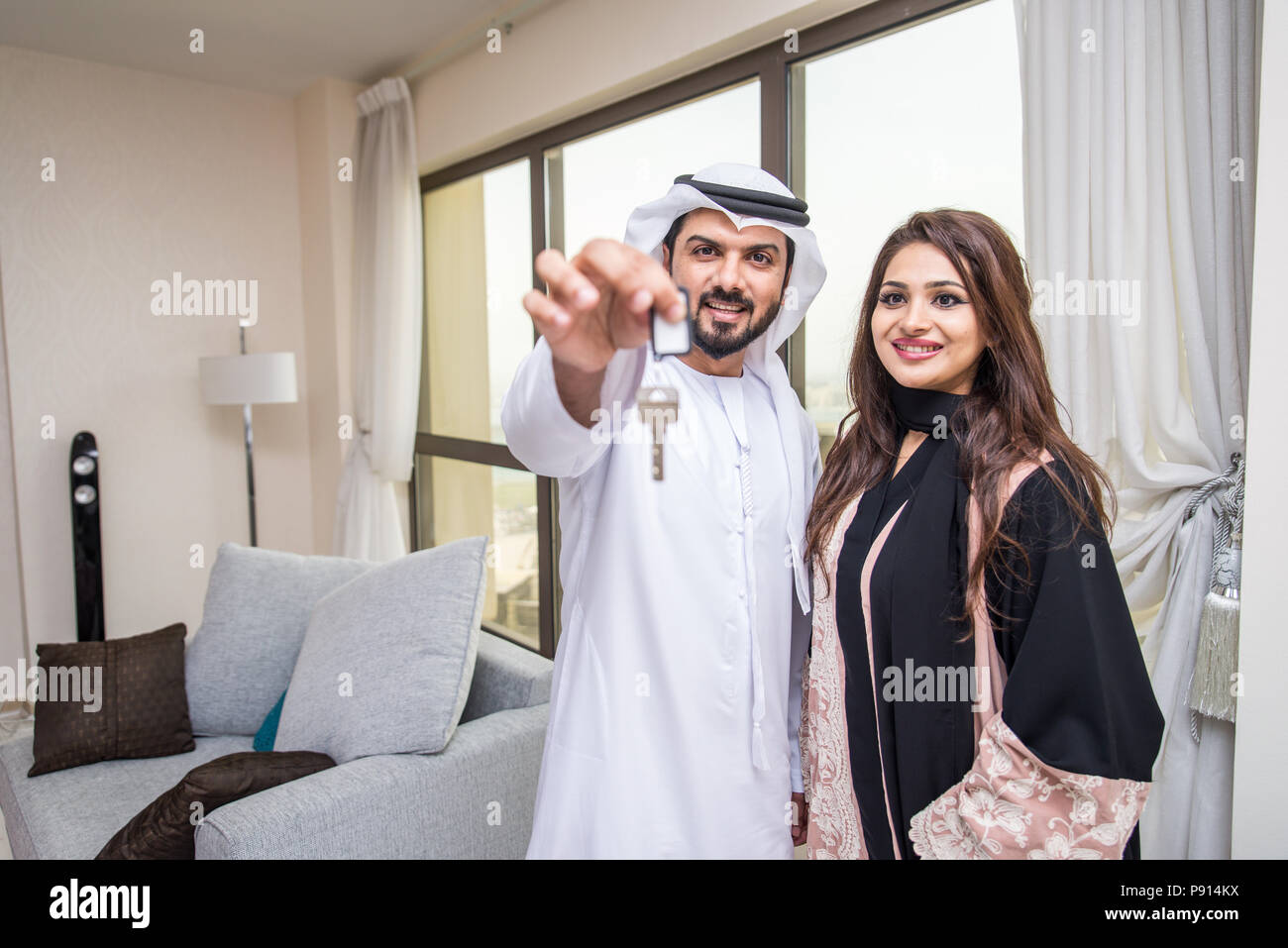 Arab couple at home anything to help the