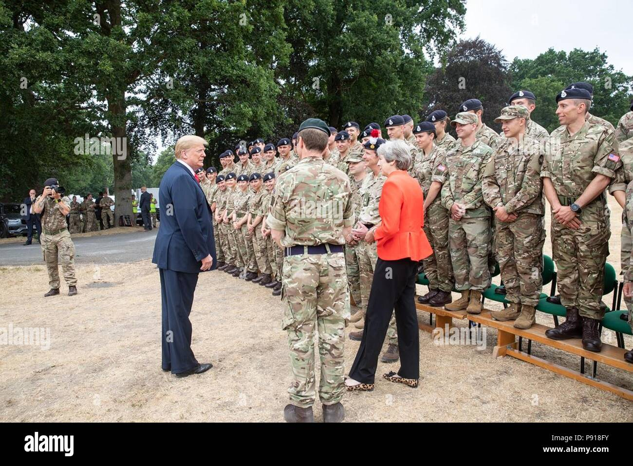 London, UK, 13 July 2018. British Prime Minister Theresa May introduces U.S President Donald Trump to the elite service SAS cadets at the Royal Military Academy Sandhurst July 13, 2018 in Camberley, England. Credit: Planetpix/Alamy Live News - Stock Image
