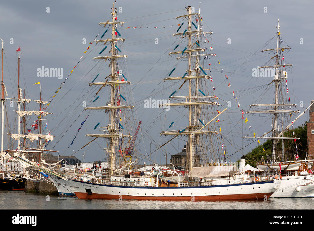 Sunderland, UK, 13 July 2018. The Fryderyk Chopin, docked in the Port of Sunderland, during the Tall Ships Race at Sunderland in north-east England. The tall ships will be in Sunderland from 11 to 14 July before departing on the first leg of the 2018 Tall Ships Race, to Ebsjerg in Denmark. Credit: Stuart Forster/Alamy Live News - Stock Image