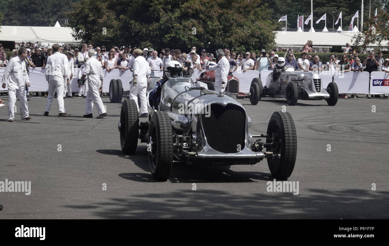 West Sussex, UK, 13th July, 2018.  Goodwood  Scenes at the Goodwood Festival of Speed, Goodwood House, home of the Duke of Richmond and Gordon.  Britain's showcase of everything automobile and fast - Stock Image