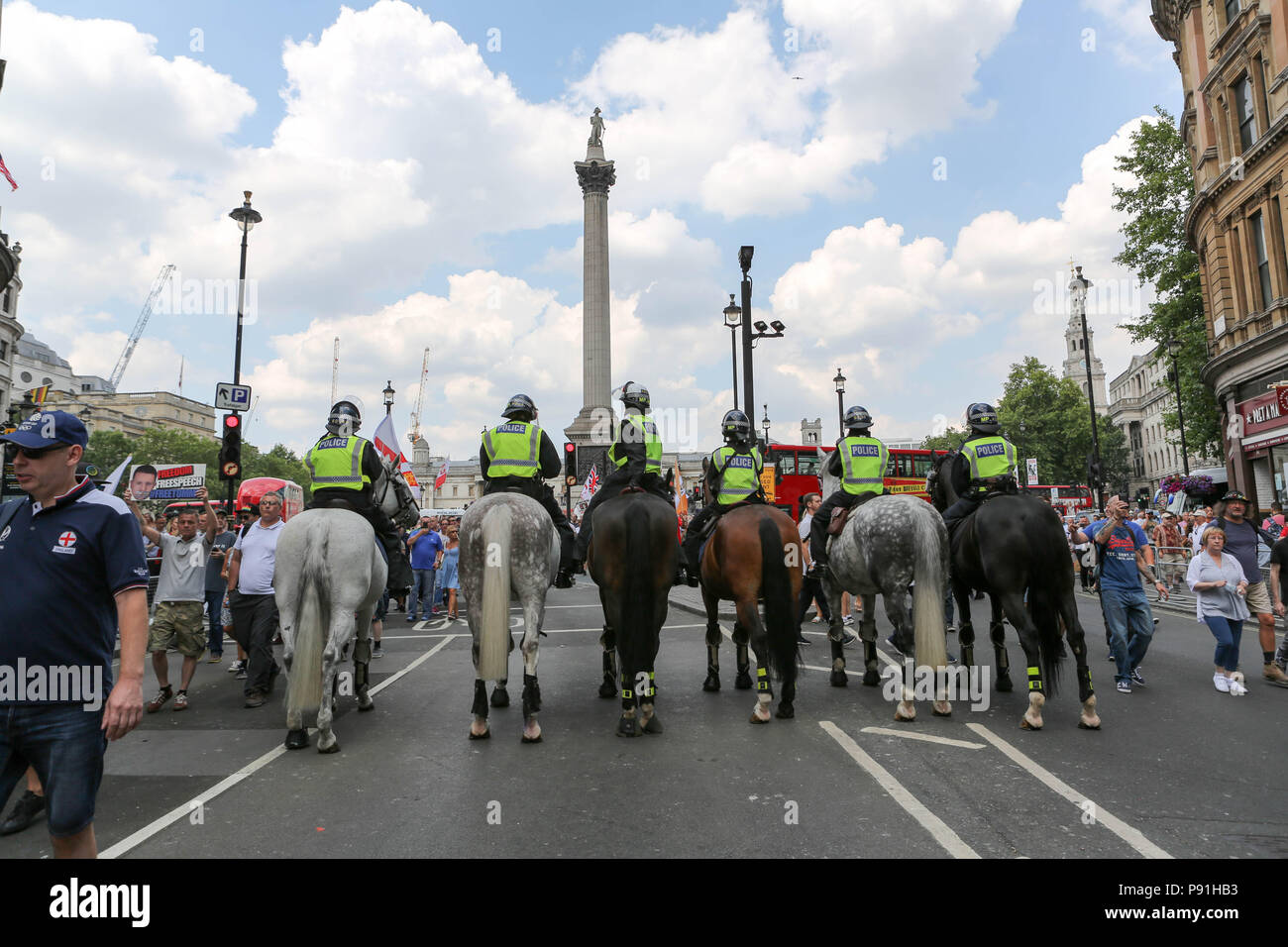 London, UK, 14th July, 2018. Various right wing groups hold a demonstration for former EDL leader Tommy Robinson, who is currently serving a 10 month prison sentence for contempt of court. Penelope Barritt/Alamy Live News - Stock Image