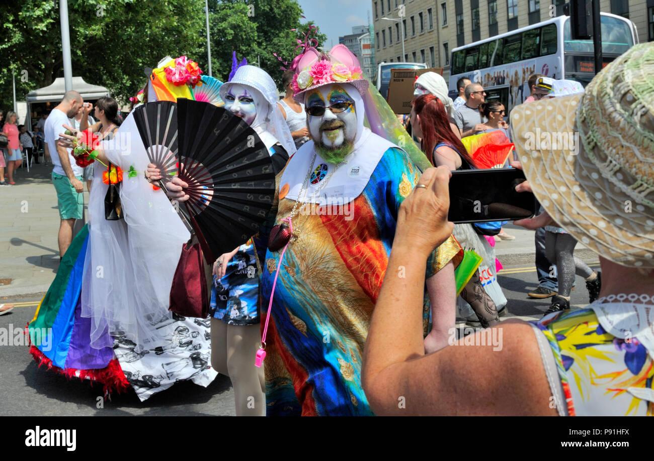 Bristol, UK, 14 July 2018. Gay Pride events around Bristol celebrate LGBTQ pride Credit: Charles Stirling/Alamy Live News - Stock Image