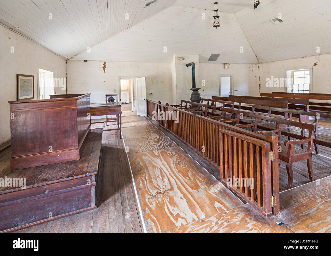 Courtroom where Billy the Kid was tried, Lincoln, New Mexico, USA - Stock Image
