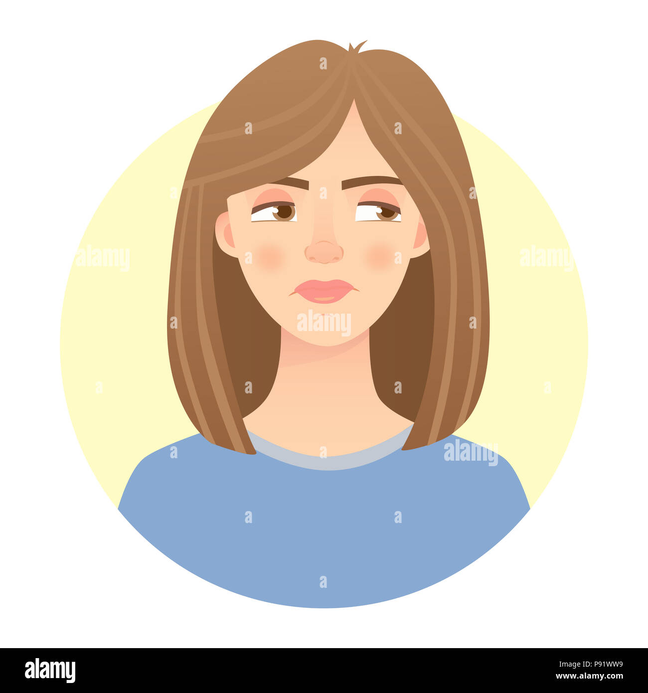 Emotions of woman face. Facial expression. Illustration of beautiful woman - Stock Image