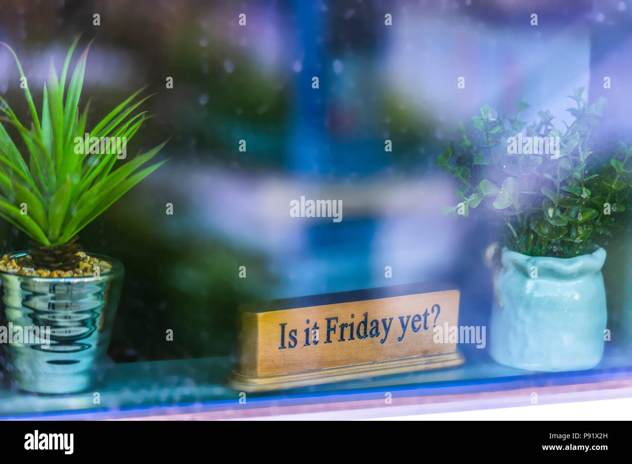Is it friday yet sign in window - Stock Image