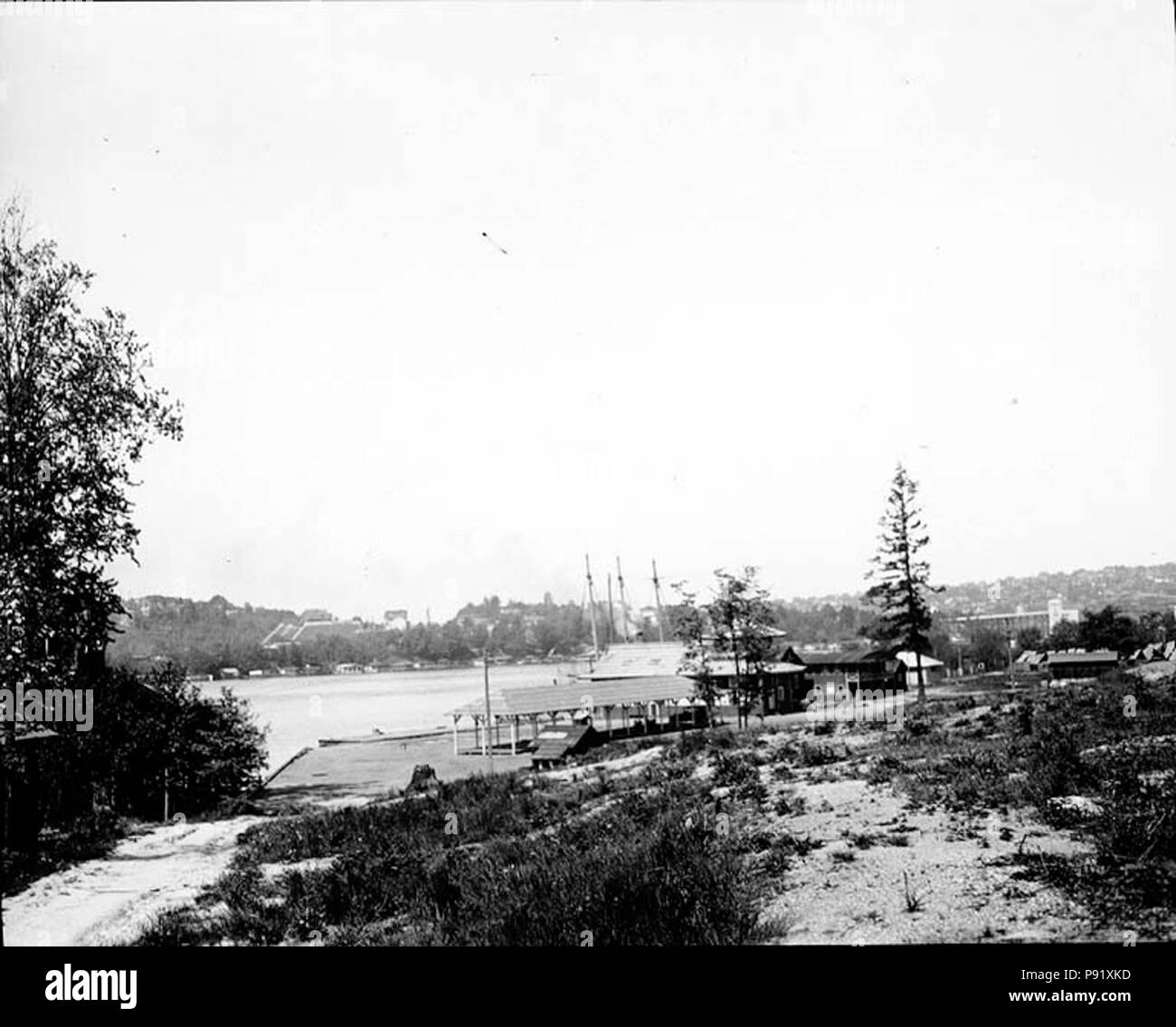 .   398 Lake Union frontage of the Univ of Wash campus 1919 (COBB 354) - Stock Image