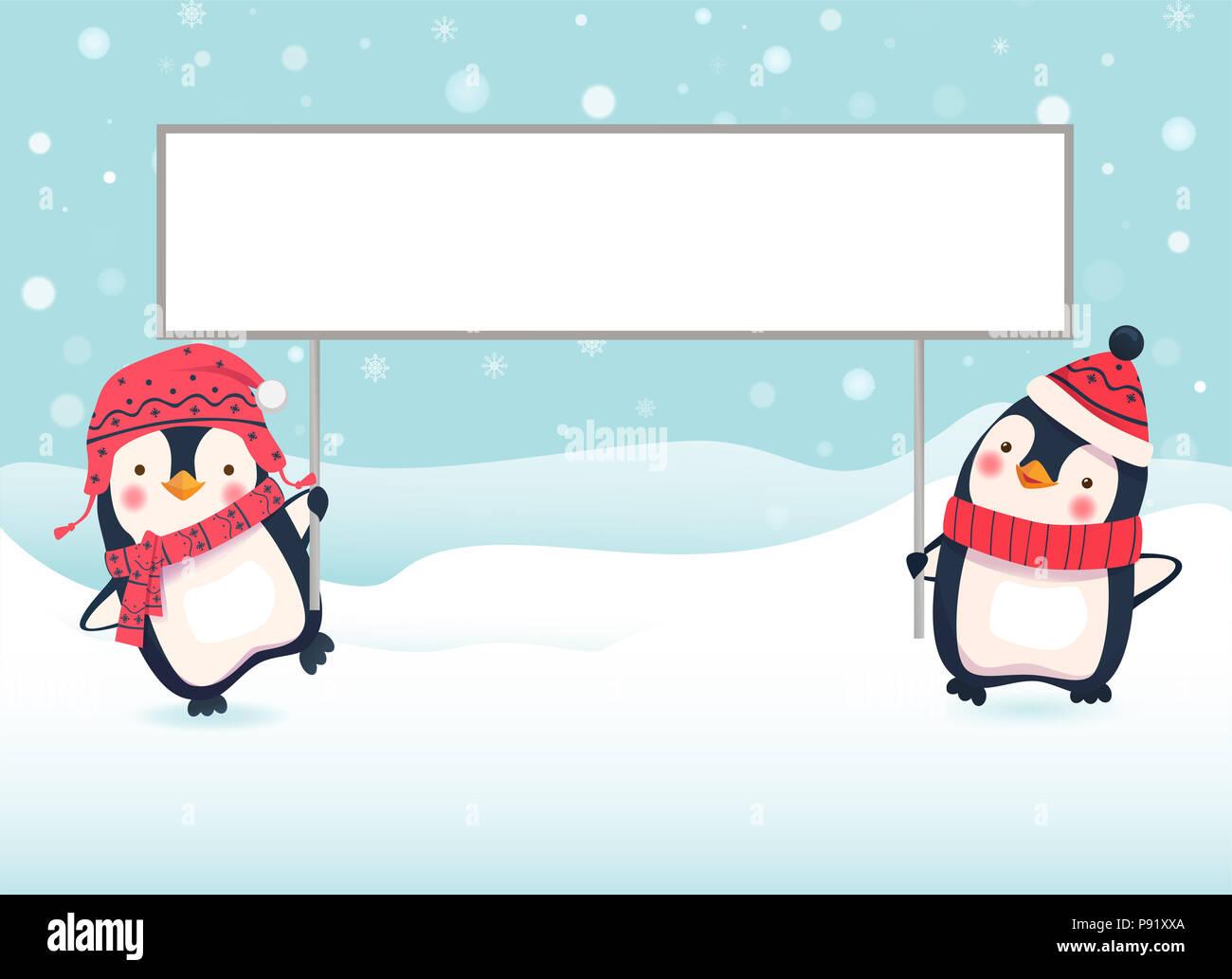 Penguin Cartoon Illustration Two Penguins Holding Banner Stock Photo Alamy
