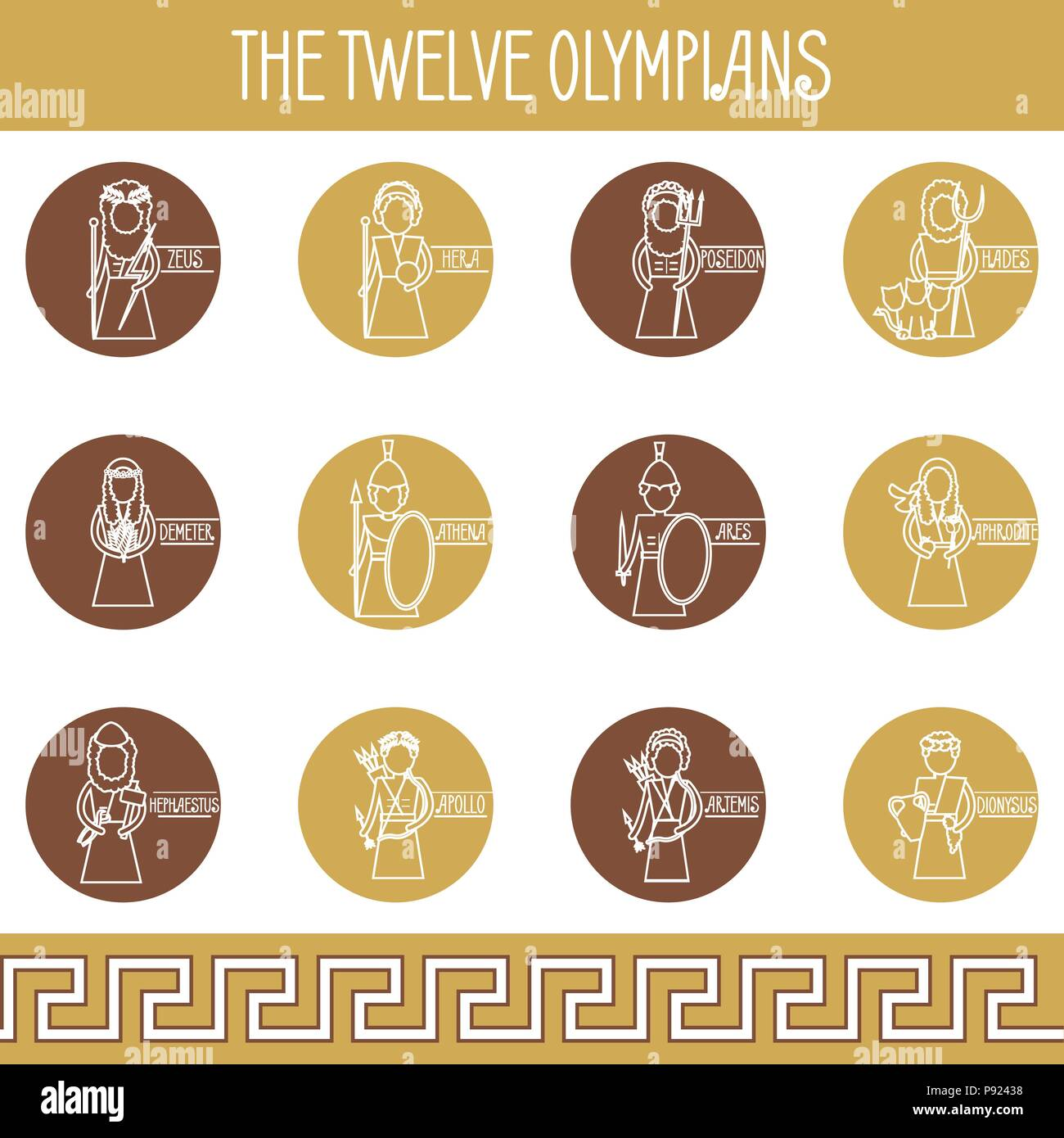 The Twelve Olympians icons set - Stock Vector