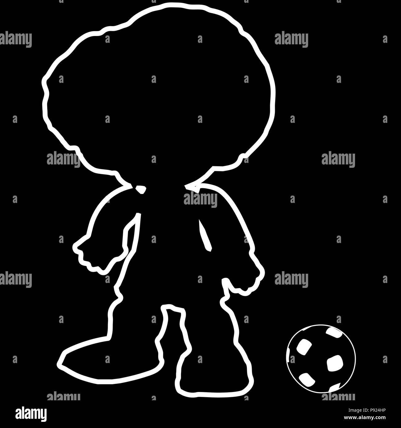 outline football player, silhouette with classic soccer ball - Stock Vector