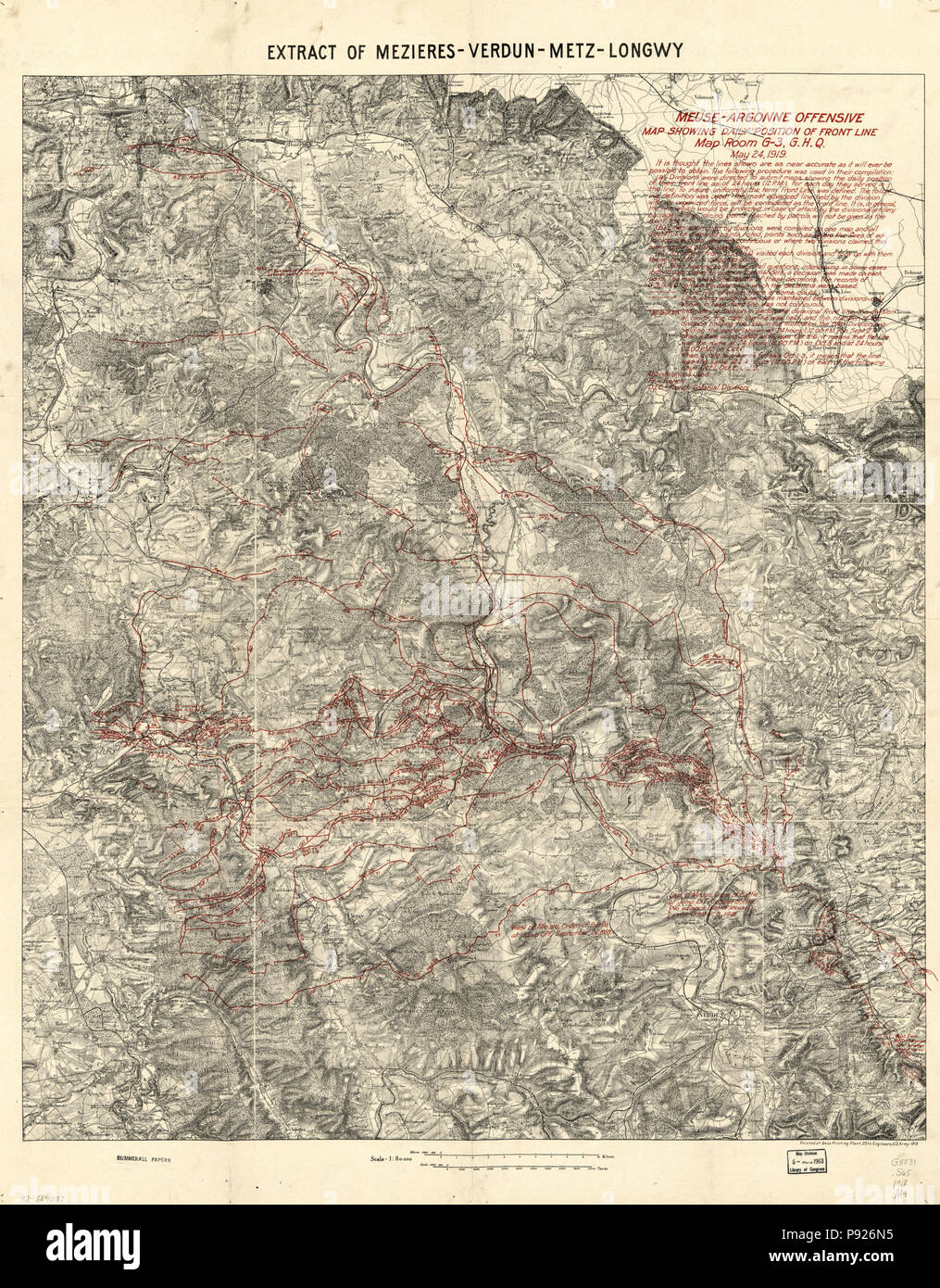 """HP 18/"""" x 24/"""" 1919 Map Of Meuse Argonne Offensive Daily Position Of Front Line"""