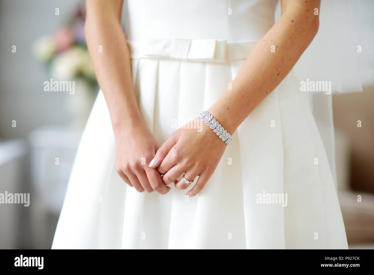 Bride S Hands On Beautiful White Wedding Dress Bride Wearing