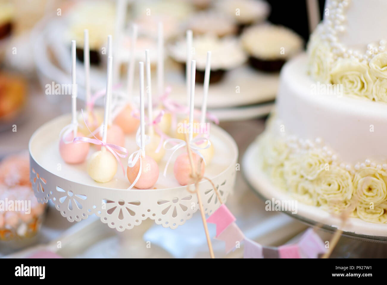Beautiful Desserts Sweets And Candy Table At Wedding Reception Or