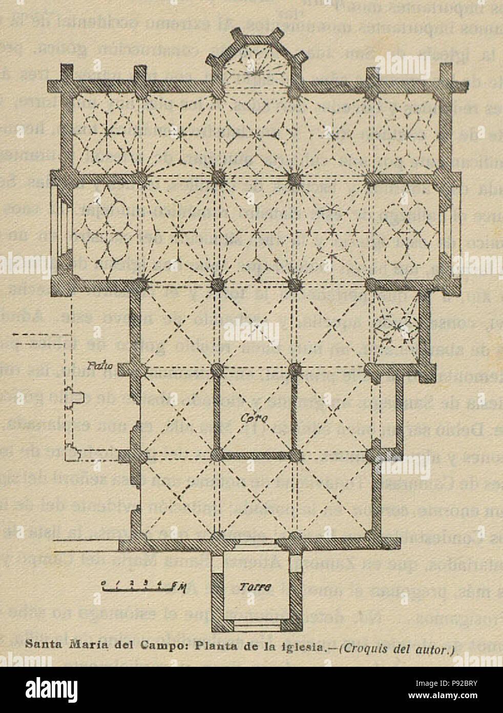 18 1920-06, Boletín de la Sociedad Española de Excursiones, Santa María del Campo, planta de la iglesia, Vicente Lampérez Stock Photo