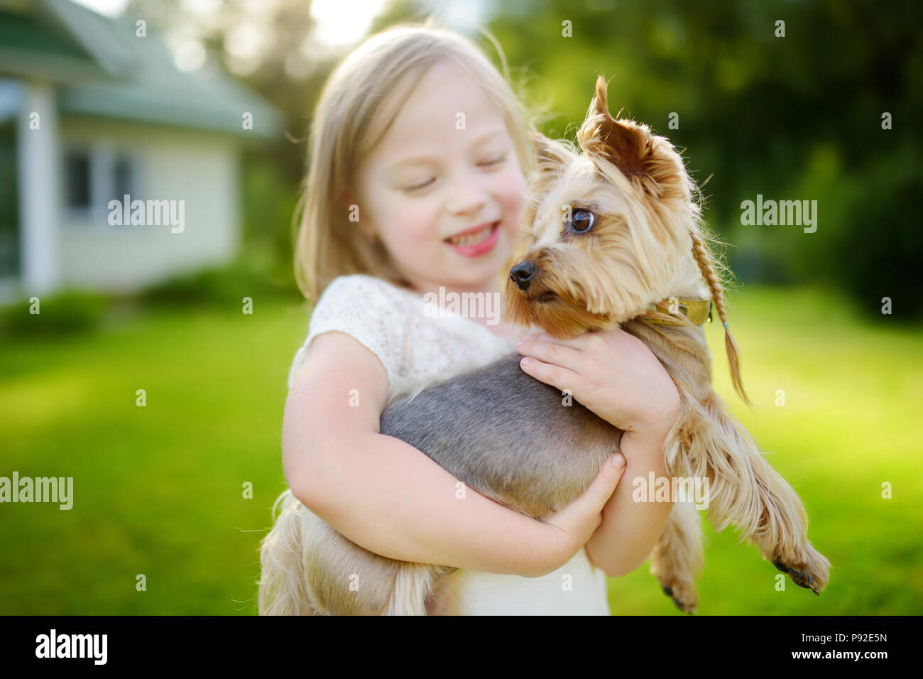 Cute Little Girl Holding Her Funny Yorkshire Terrier Dog Kids And