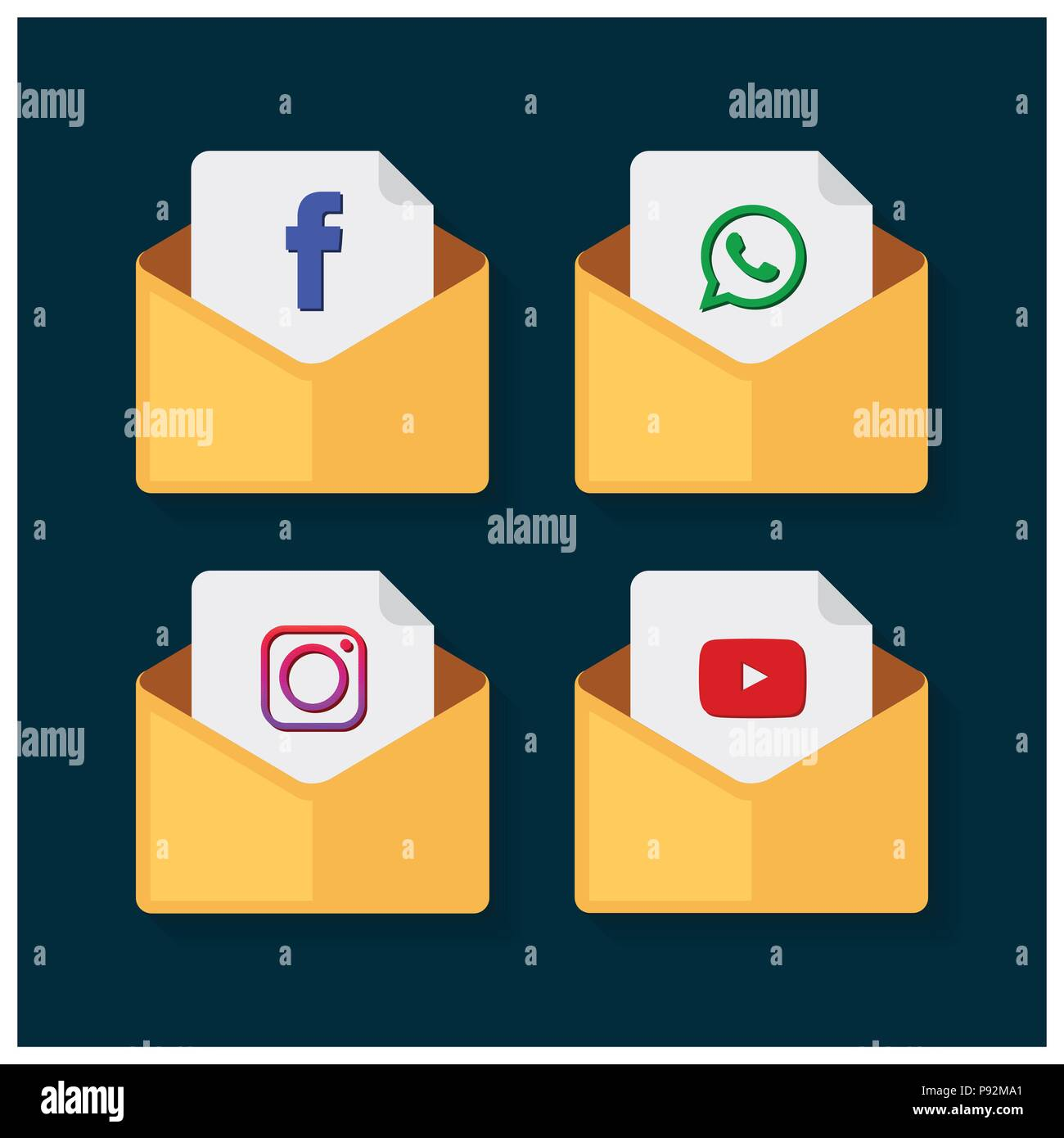 Set Of Flat Design Sale Stickers Vector Illustrations Of Facebook