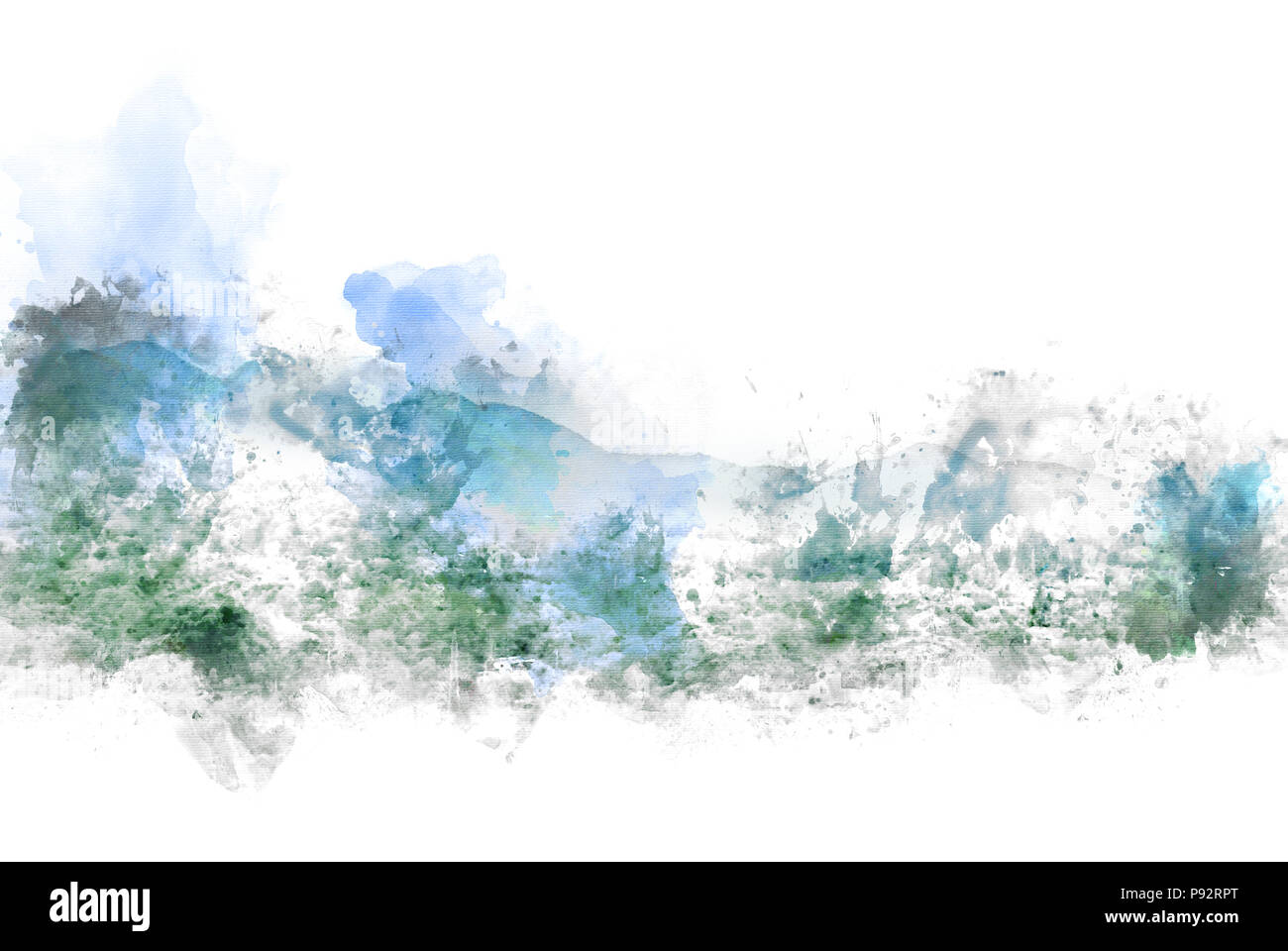 Abstract colorful mountain and field landscape on watercolor illustration painting background. - Stock Image