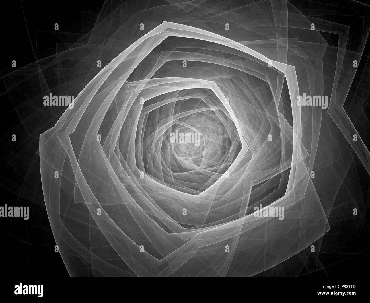 Technological singularity effect, computer generated abstract intensity map, black and white, 3D rendering - Stock Image