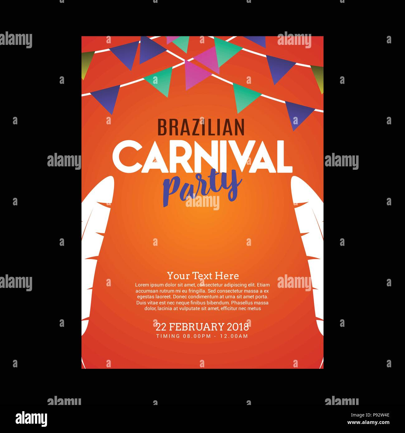 happy brazilian carnival day orange carnival party invitation card