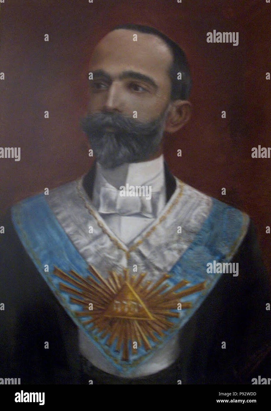 479 Retrato de Bernardino Machado (Grémio Lusitano) - António Carneiro - Stock Image