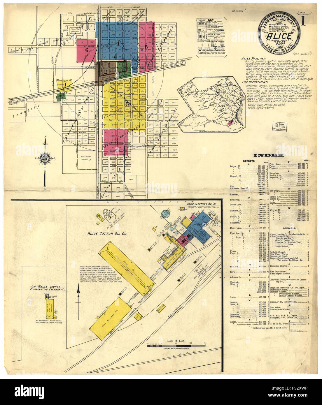490 Sanborn Fire Insurance Map from Alice, Jim Wells County, Texas. LOC sanborn08397 001-1 - Stock Image