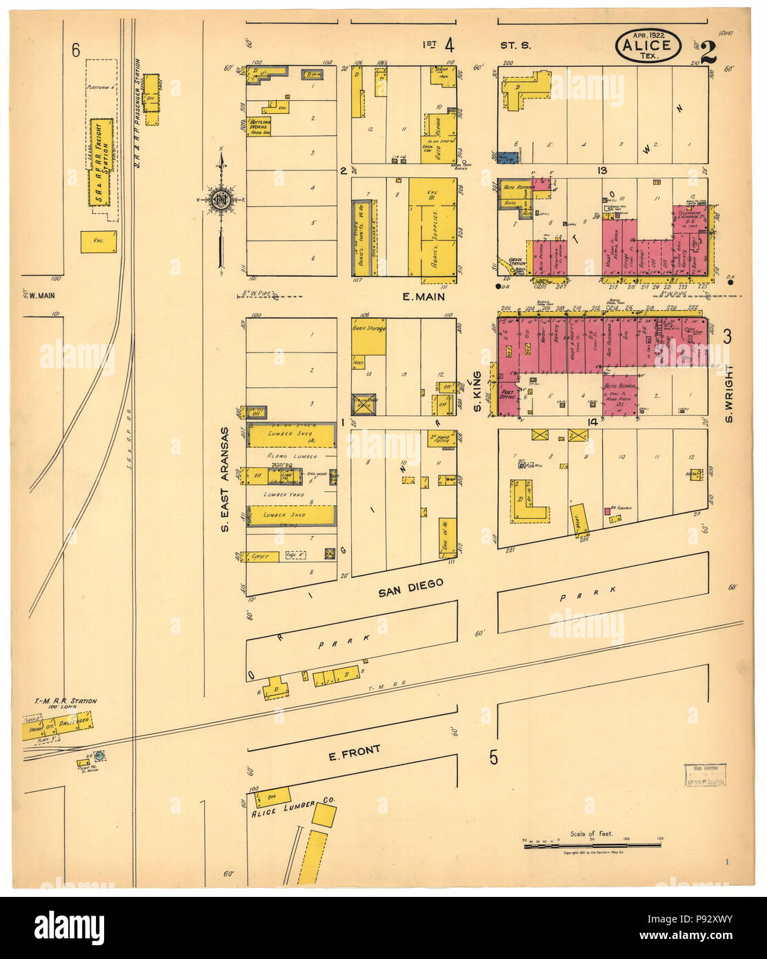 490 Sanborn Fire Insurance Map from Alice, Jim Wells County, Texas. LOC sanborn08397 001-2 - Stock Image