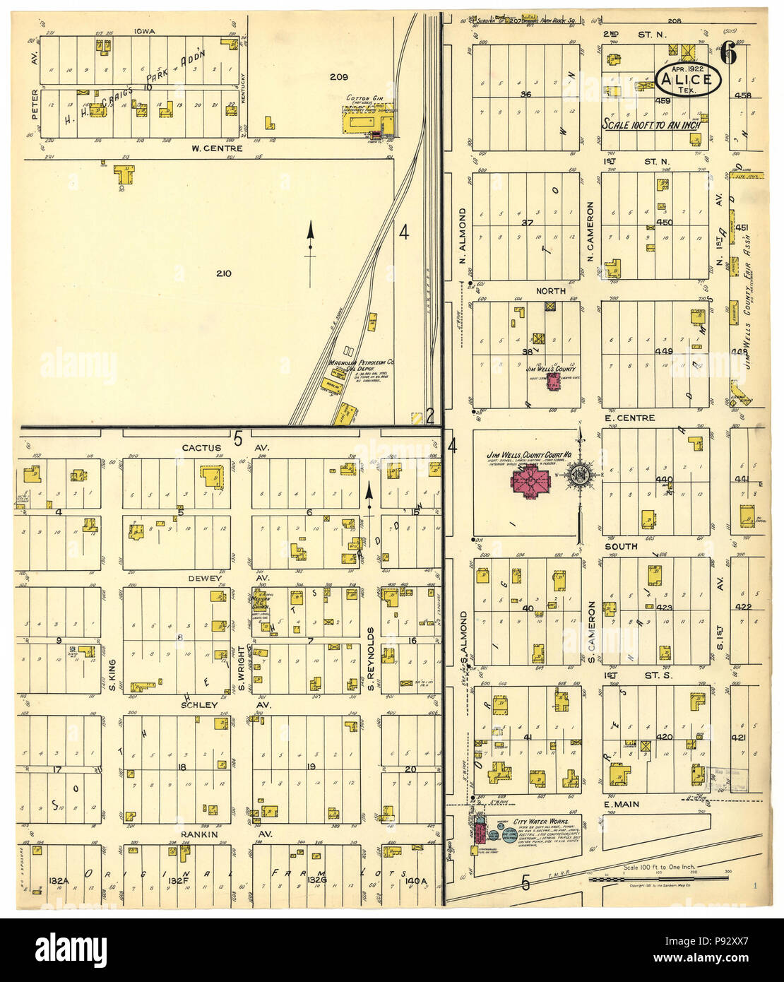 490 Sanborn Fire Insurance Map from Alice, Jim Wells County, Texas. LOC sanborn08397 001-6 - Stock Image