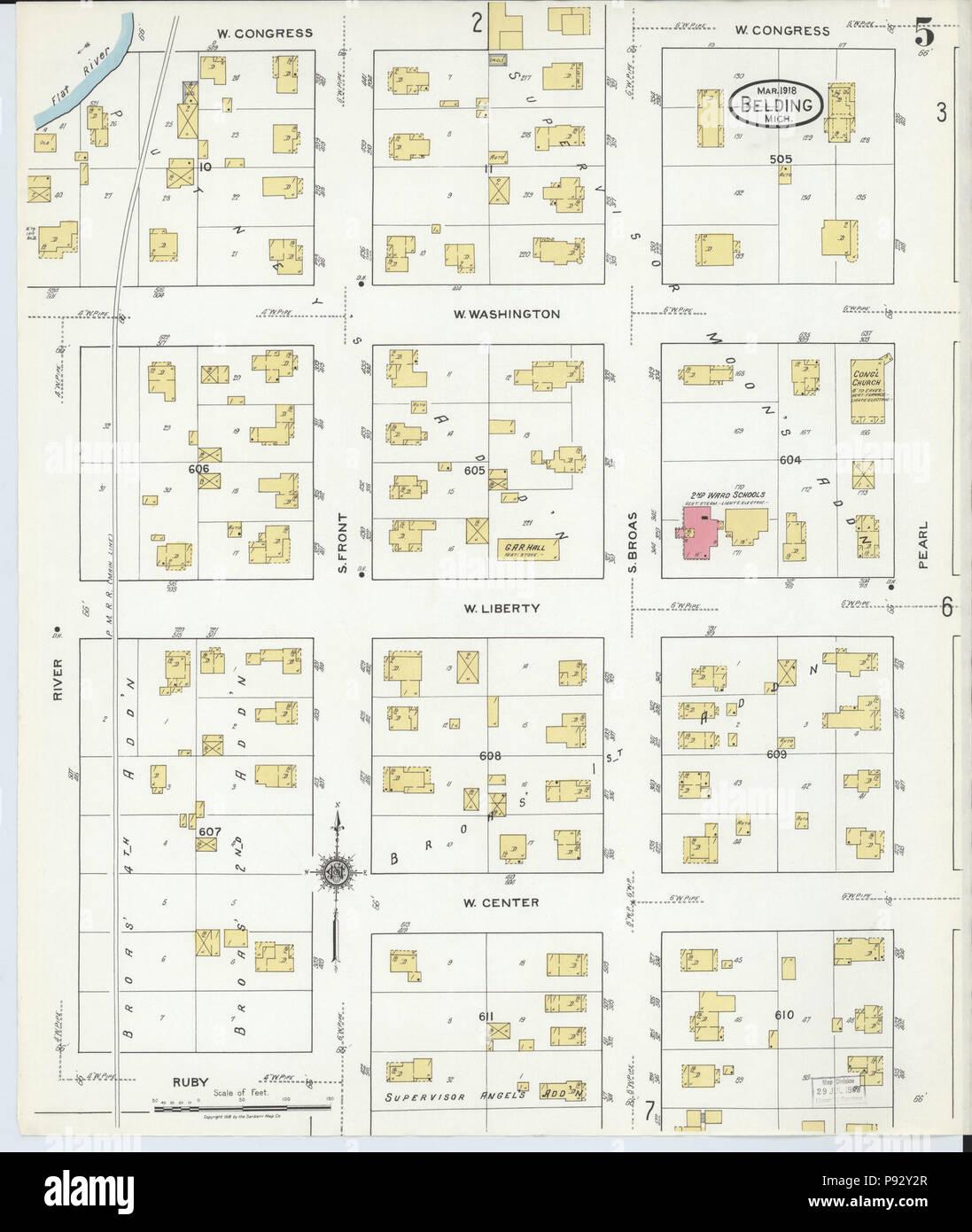 Belding Michigan Map.492 Sanborn Fire Insurance Map From Belding Montcalm County