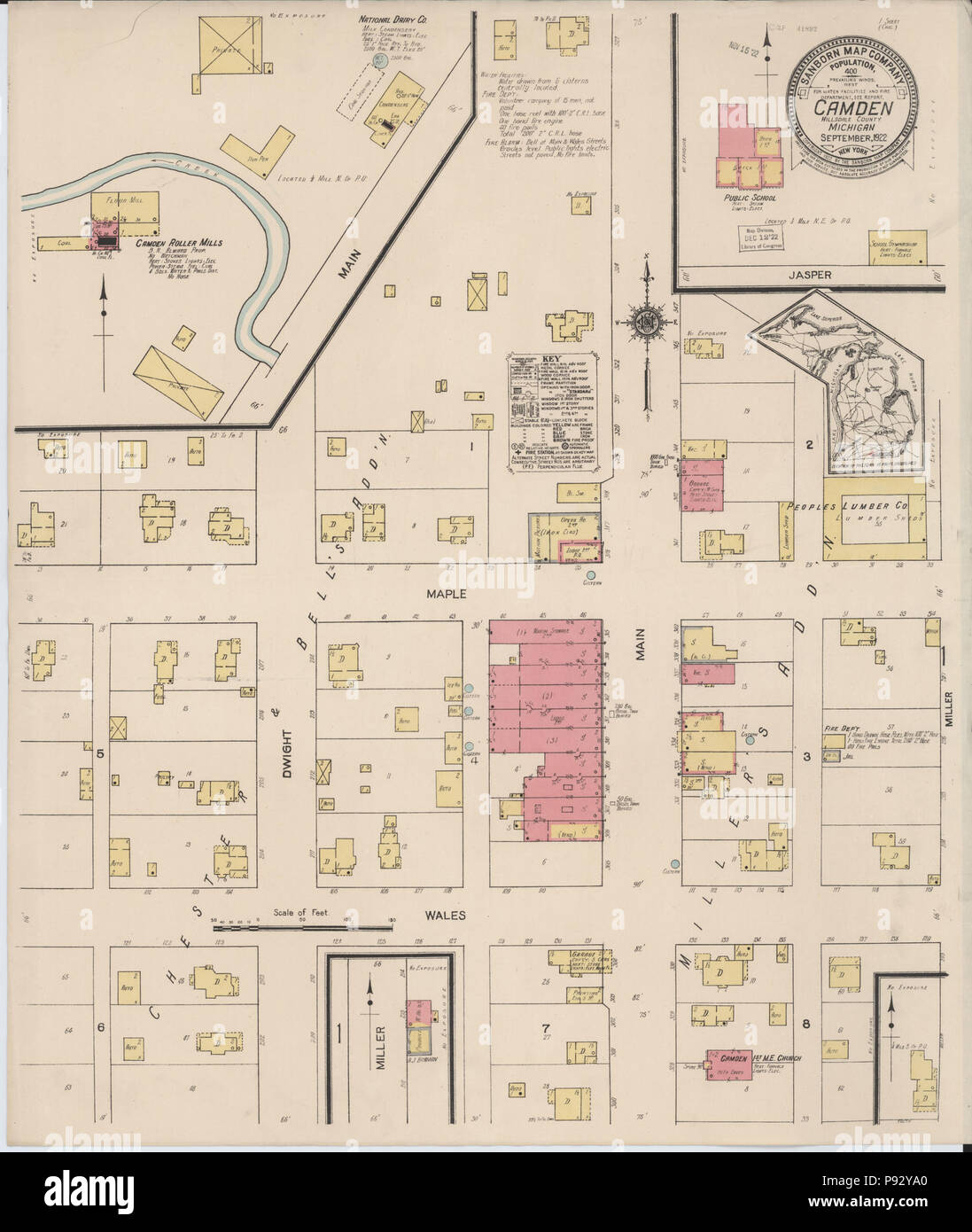 Hillsdale County Michigan Map.493 Sanborn Fire Insurance Map From Camden Hillsdale County