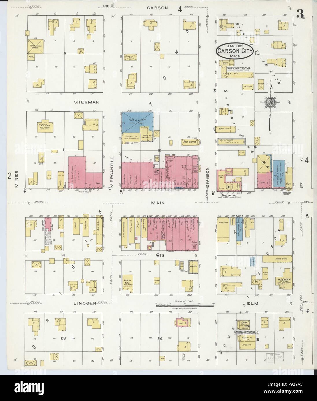 493 Sanborn Fire Insurance Map From Carson City Montcalm County