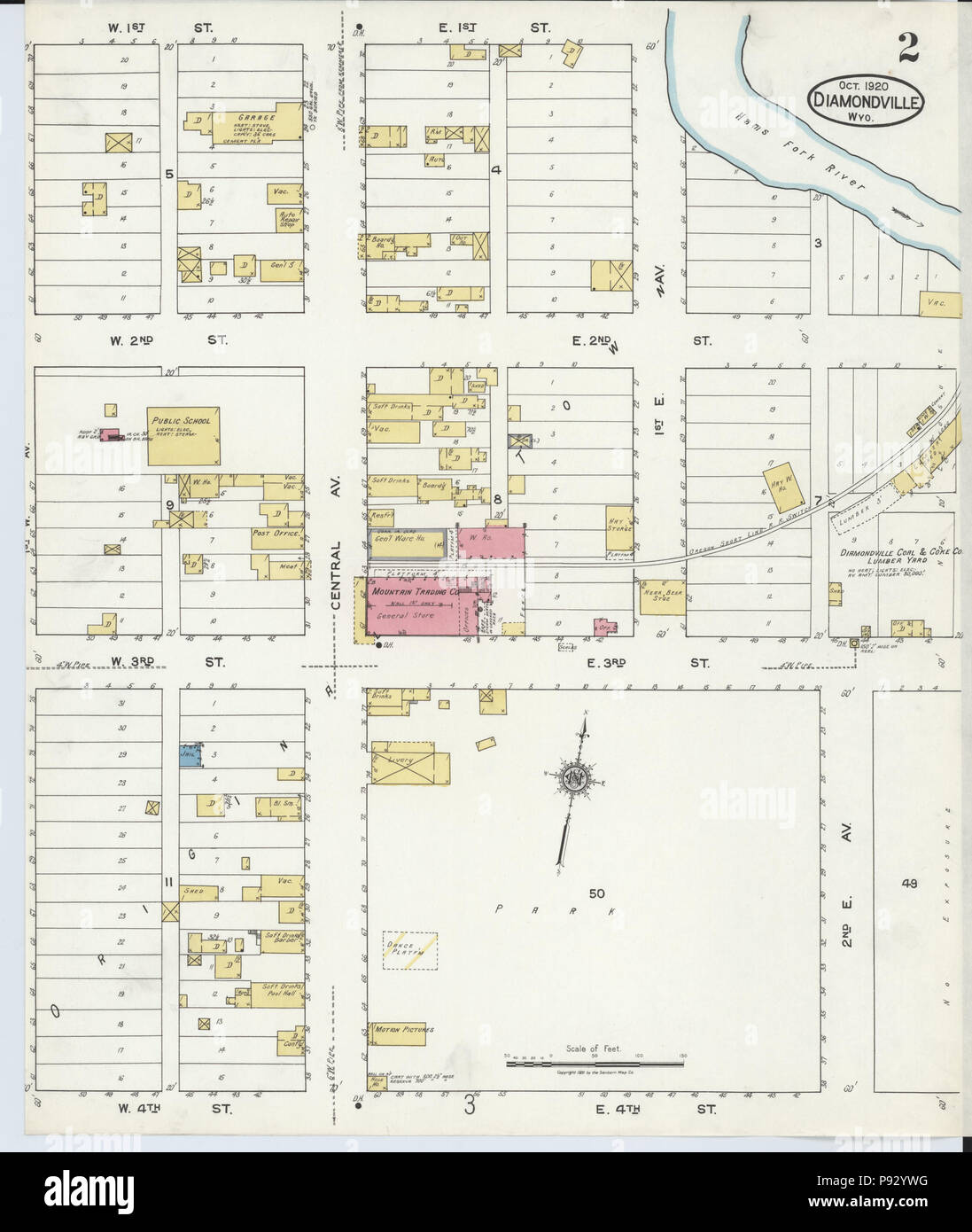 Lincoln County Wyoming Map.496 Sanborn Fire Insurance Map From Diamondville Lincoln County