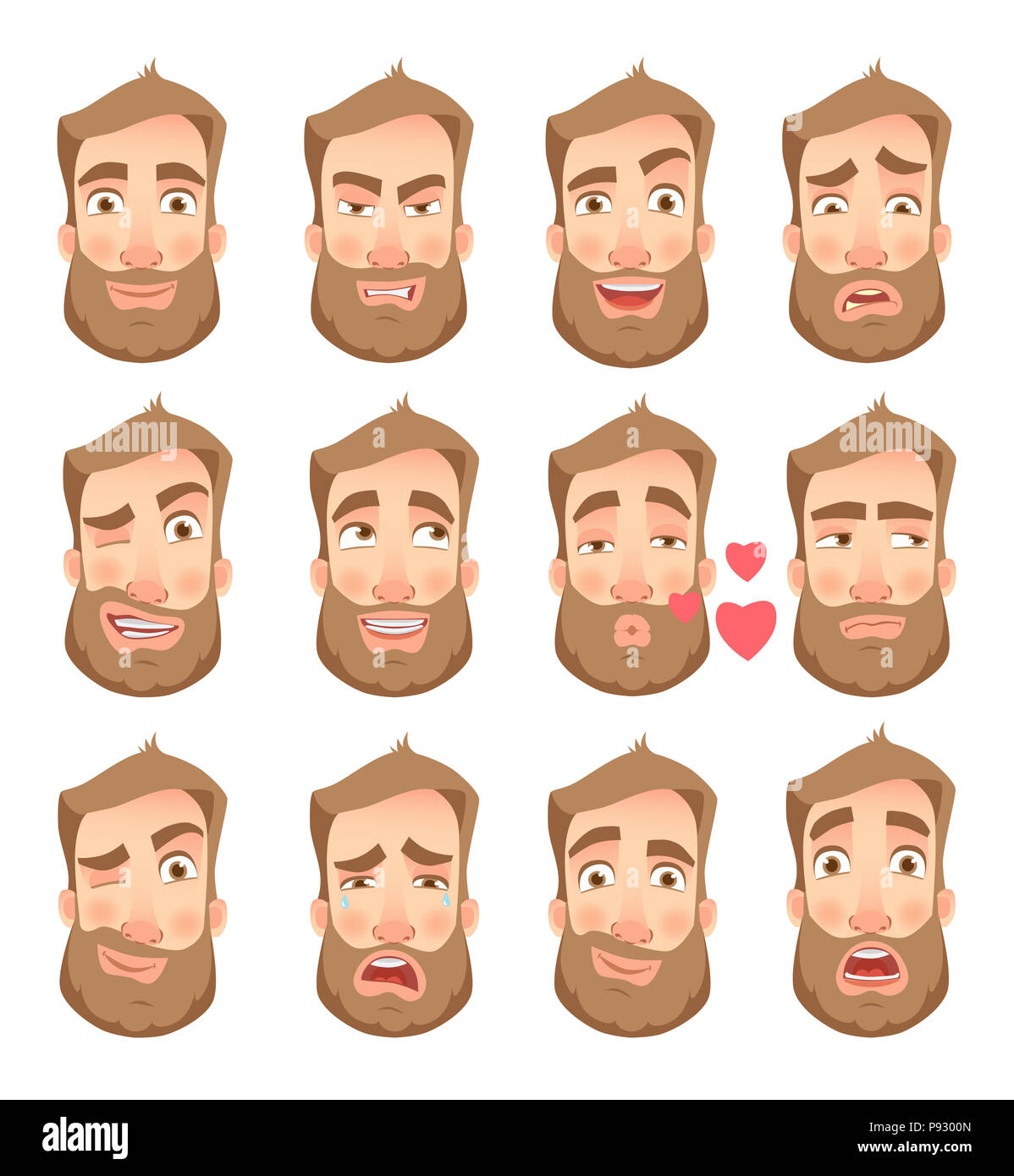 Man face expression. Human emotions. Set of cartoon  illustrations. - Stock Image