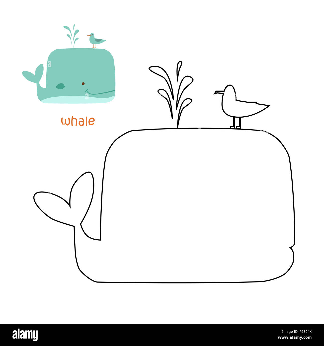 Coloring Book For Children Coloring Page With Whale