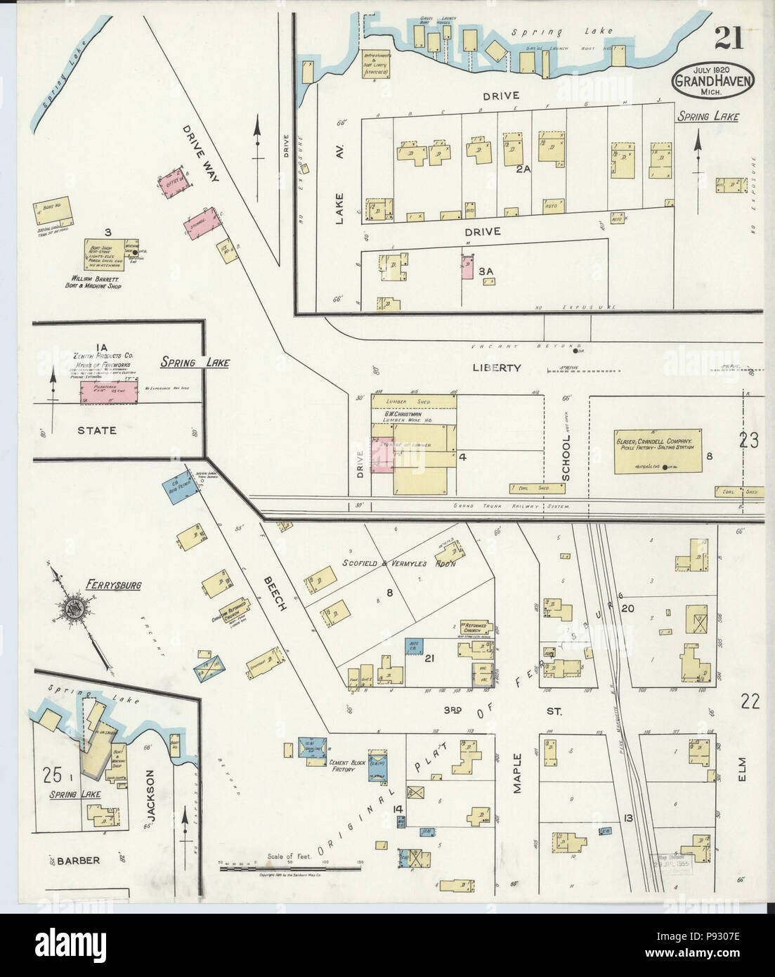 Grand Lake Fire Map.498 Sanborn Fire Insurance Map From Grand Haven Ottawa County