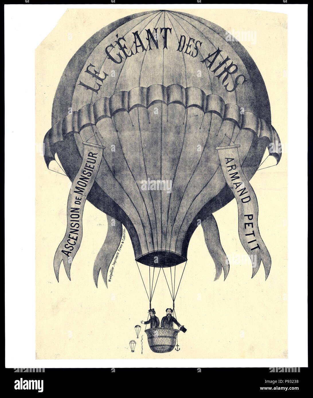 Le Géant des airs. Ascension de Monsieur Armand Petit. 1860-1880 - Stock Image
